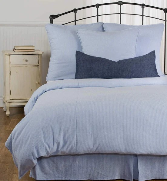 Blue And White Stripe Seersucker Duvet Cover In Stock Queen Or King Daniel Dry Goods