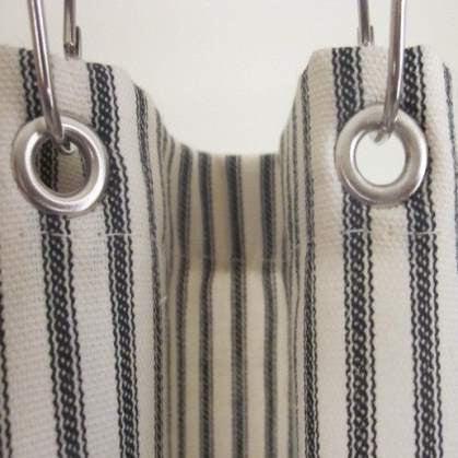 ticking stripe shower curtain black brown grey navy red 72x72 or custom size