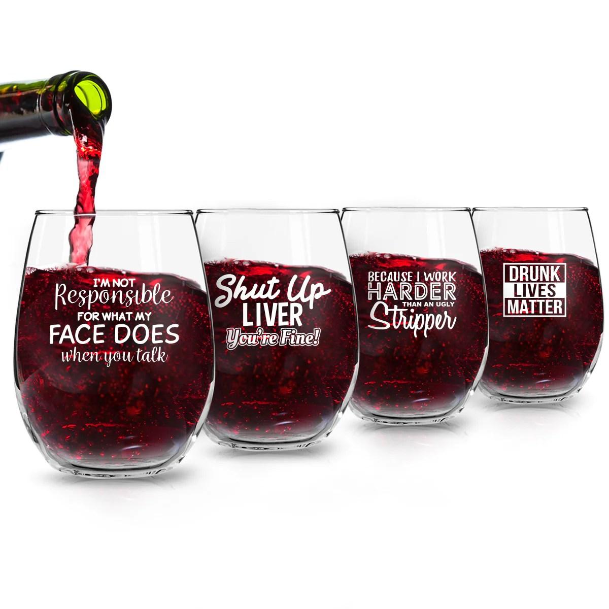 Set Of 4 Crude Rude Funny Wine Glasses 15 Oz Novelty