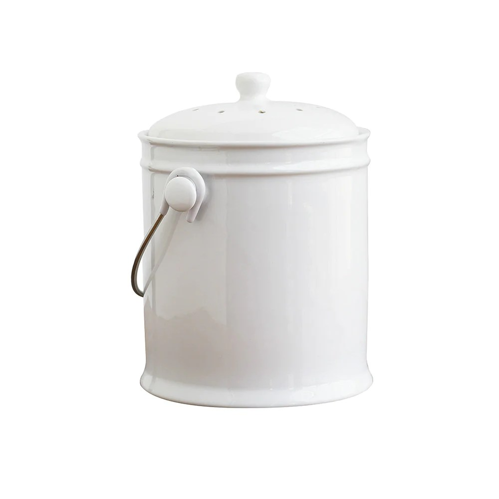 compost bin for kitchen oak pantry cabinet ceramic natural home brands 3 colors white