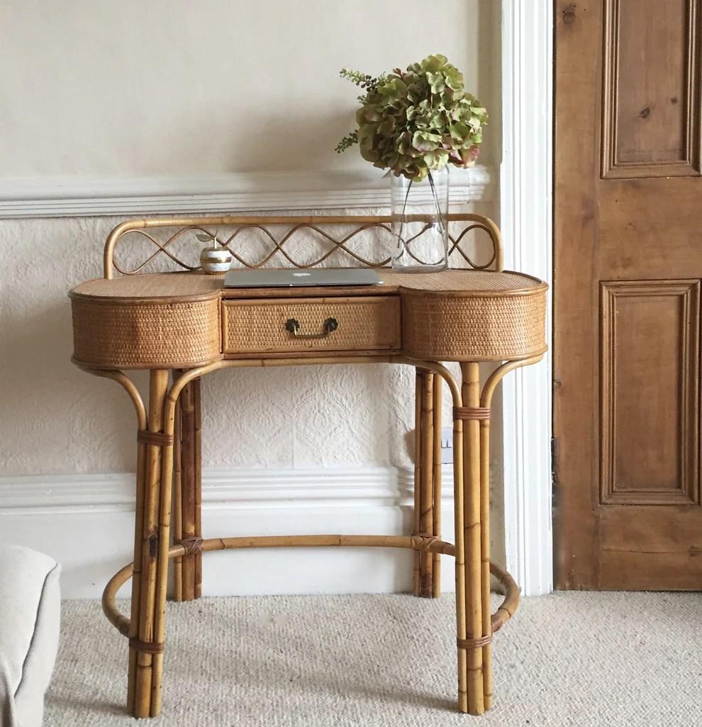Vintage Wicker Dressing Table - Bureau Coiffeuse