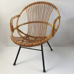 Old Wicker Chairs Uk Lowes Adirondack Chair Plans Vintage Rattan Metal Feet Armrests Fauteuil