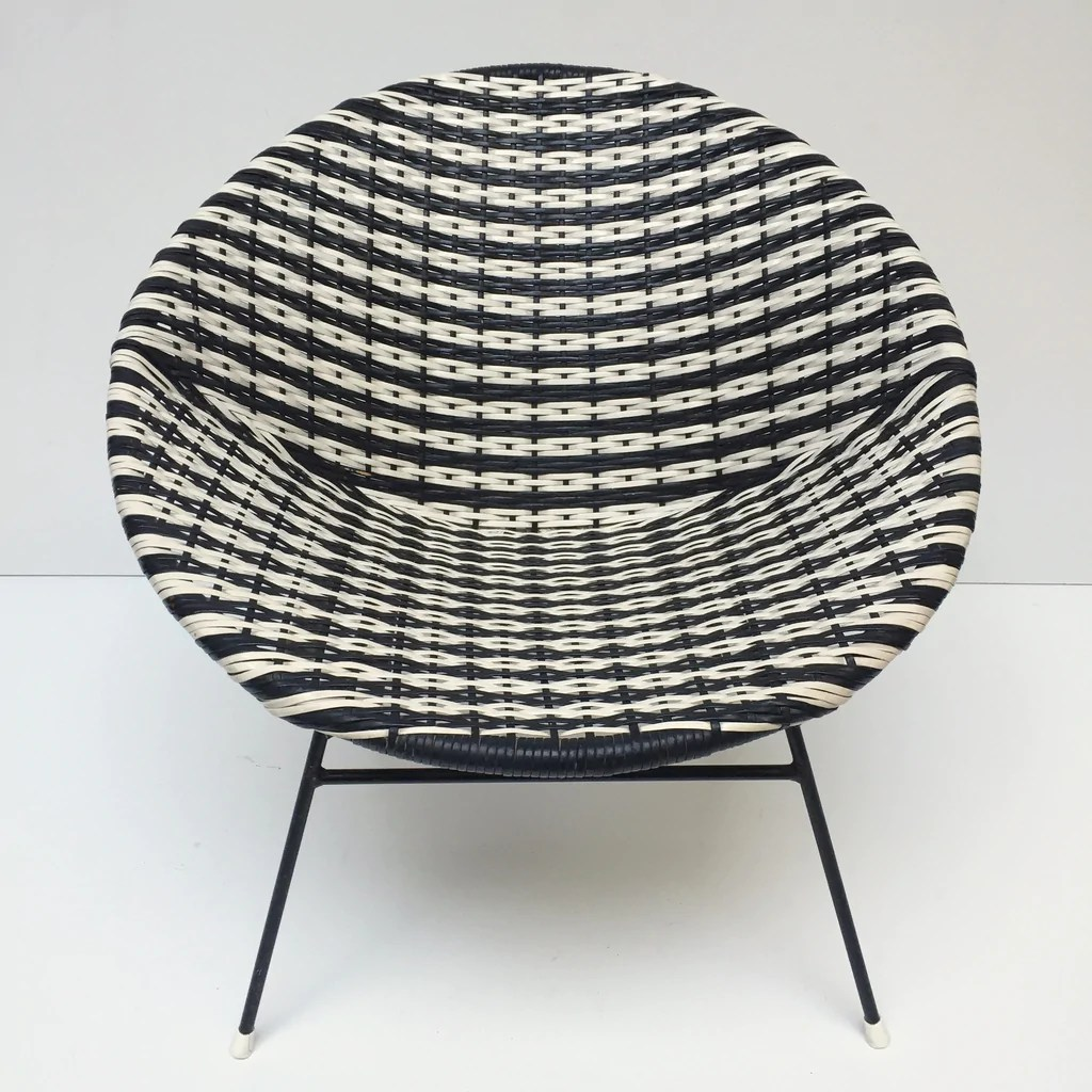 Satellite Chair Black And White Vintage Satellite Woven Wicker Chair