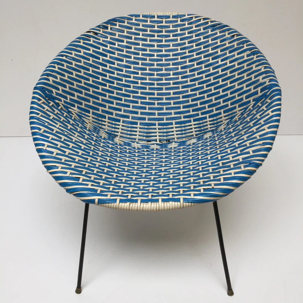 Satellite Chair Blue White Vintage Satellite Woven Wicker Chair Fauteuil Scoubidou Bleu Et Blanc Vintage Free Delivery Uk Livraison Gratuite France