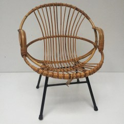 Old Wicker Chairs Uk Bedroom Chair Stool Vintage Rattan Metal Feet Armrests Fauteuil