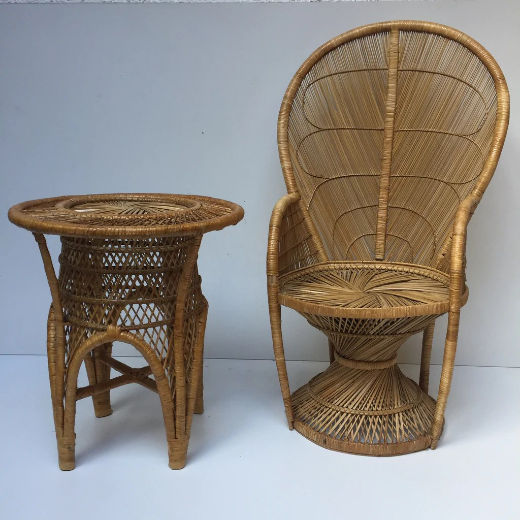 vintage peacock chair louis room and board 1970s adult wicker fauteuil