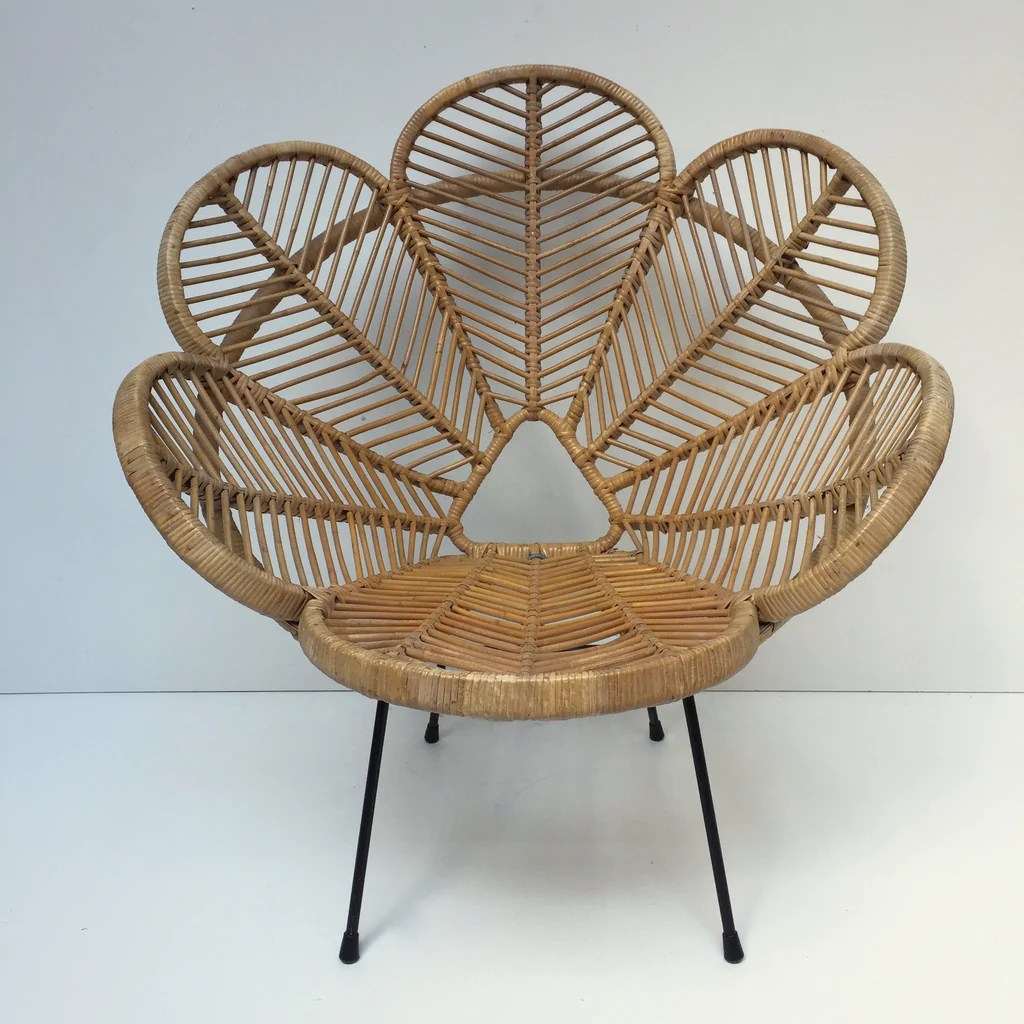Flower Chair Vintage Wicker Rattan Flower Petal Chair Fauteuil En