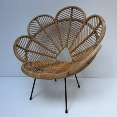Old Wicker Chairs Uk Portable Directors Chair Vintage Rattan Flower Petal Fauteuil En