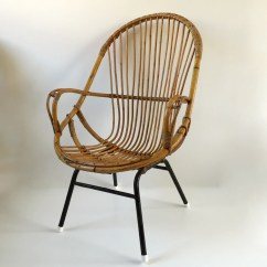 Old Wicker Chairs Uk Bedroom Vanity Chair Retro Vintage Rattan Tall Metal Feet