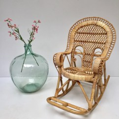 Vintage Wicker Rocking Chair And Half With Ottoman Peacock 1970s Kids