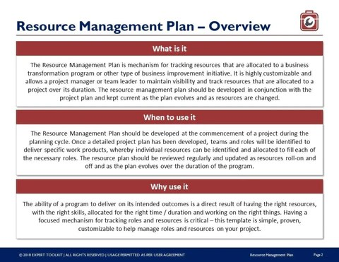 Retirement is one of those things that you can't put off until the last minute. Resource Management Plan Guide And Template By Expert Toolkit