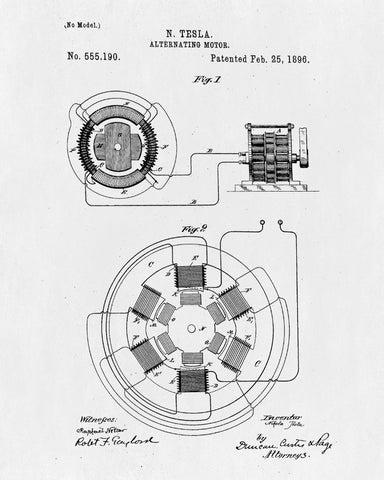 nikola tesla patent print vintage blueprint design electrical poster