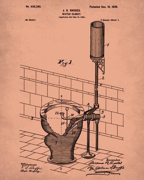 Toilet Blueprint Bathroom Art Patent Print Wall Poster  OnTrendAndFab