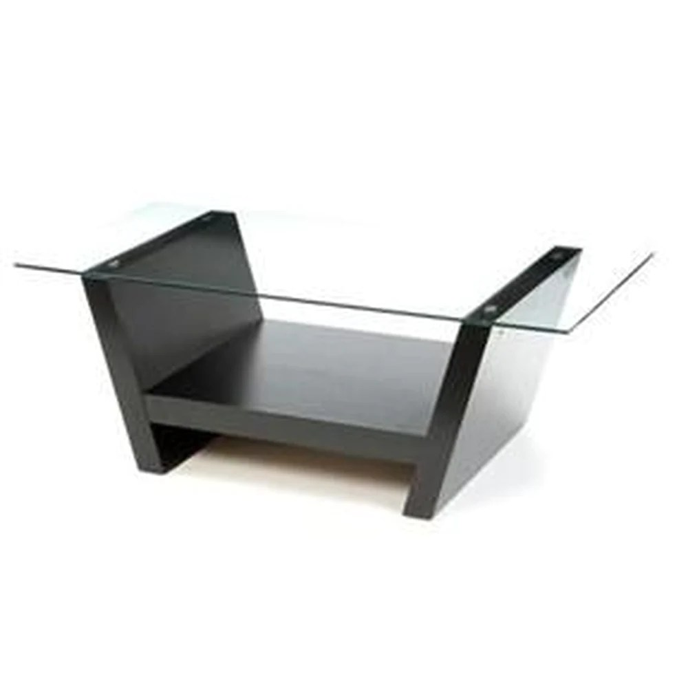 rectangular glass top coffee table with black wood base