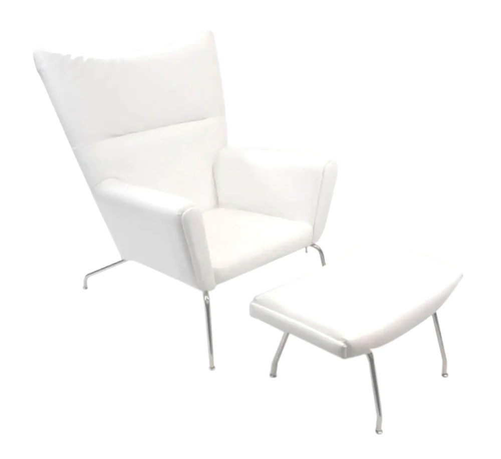 White Wing Chair Fine Mod Imports Wing Chair And Ottoman In Leather White