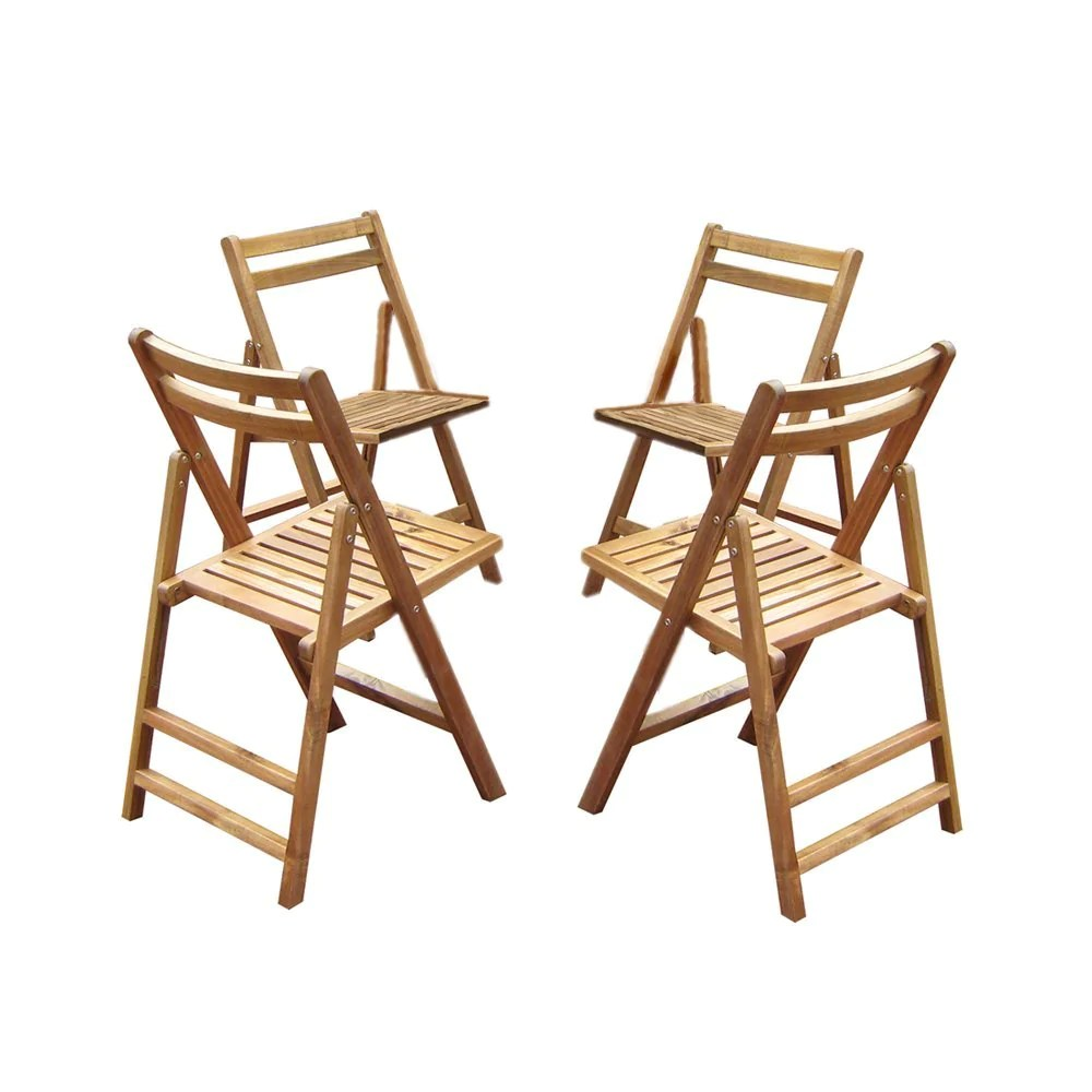 Patio Folding Chairs Merry Products Outdoor Patio Acacia Hardwood Folding Dining Chairs Set Of 4