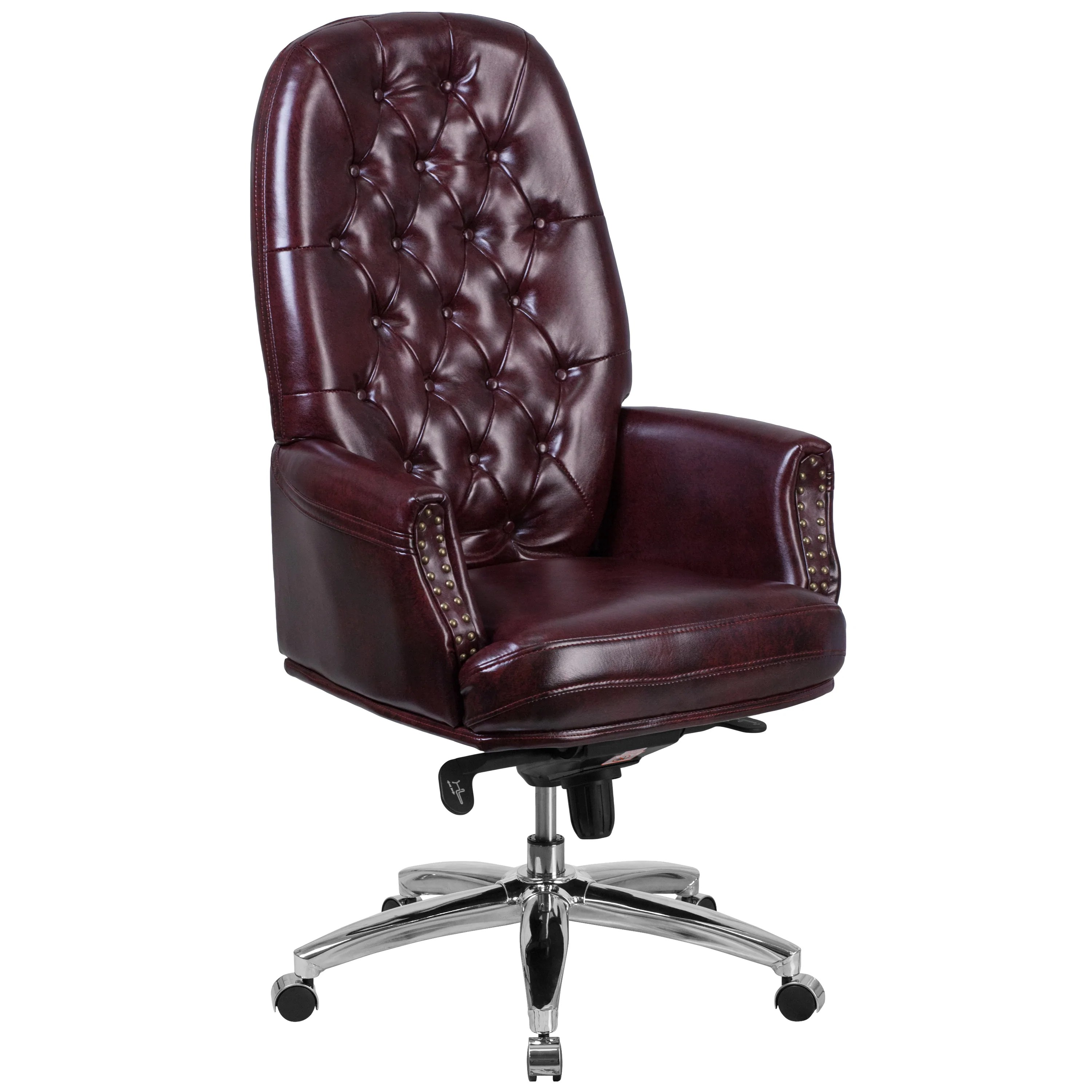 Tufted Leather Office Chair High Back Traditional Tufted Leather Multifunction Executive Swivel Chair With Arms