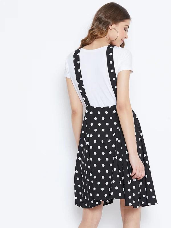 Berrylush Black Polka Dot Print Skirt With Shoulder Straps