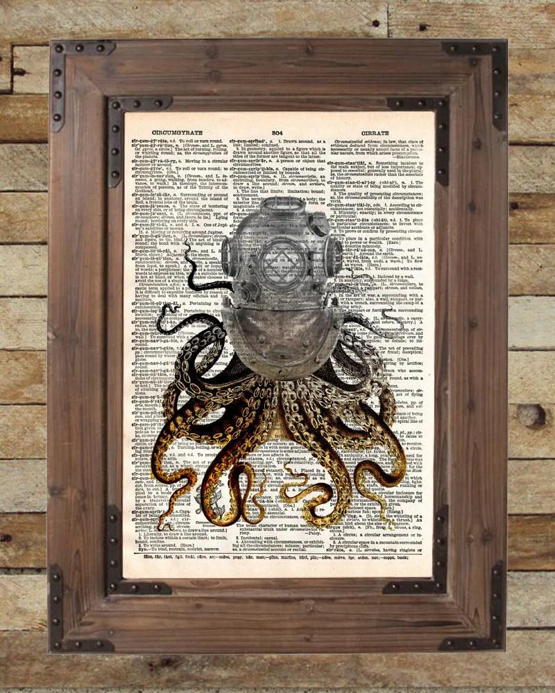 Octopus Art Diving Helmet Victorian Steampunk Lovecraft