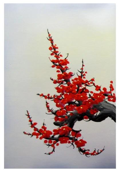 Cherry blossom wall art Japan cherry blossom art red cherry blossom  Loft 817