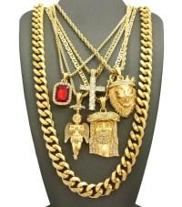 Hip-Hop Jewelry 5 Piece Pendant Set w/ Various Chain ...