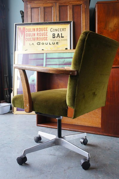 cool desk chair office with adjustable arms vintage retro green velvet swivel on casters wooden ar – erfmann