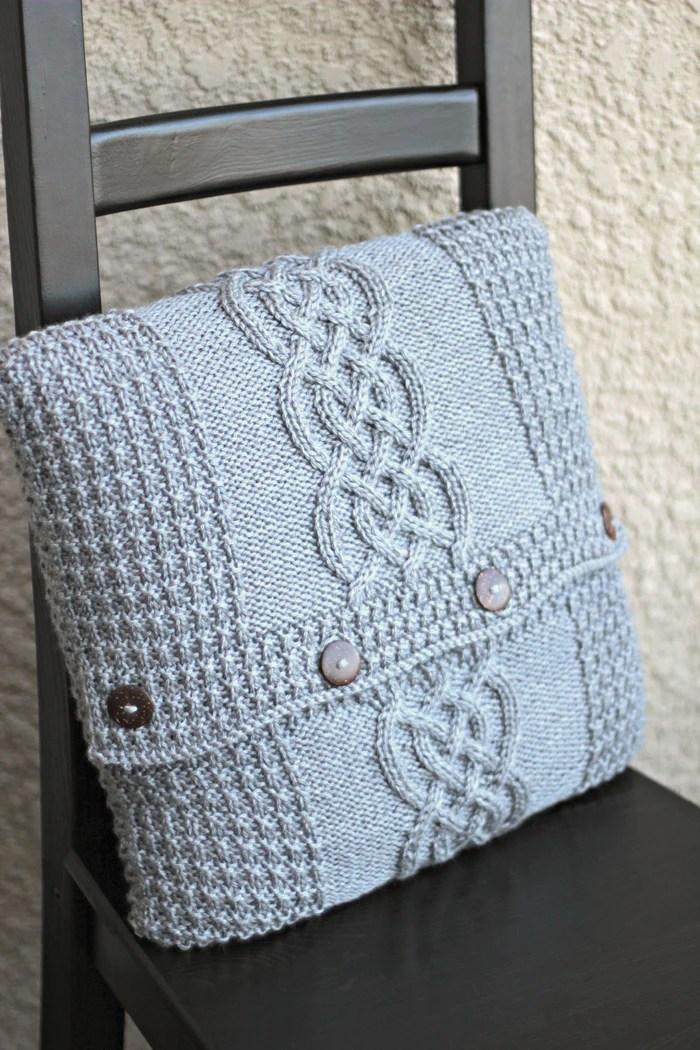 Knitted pillow case pattern DIY knitting tutorial