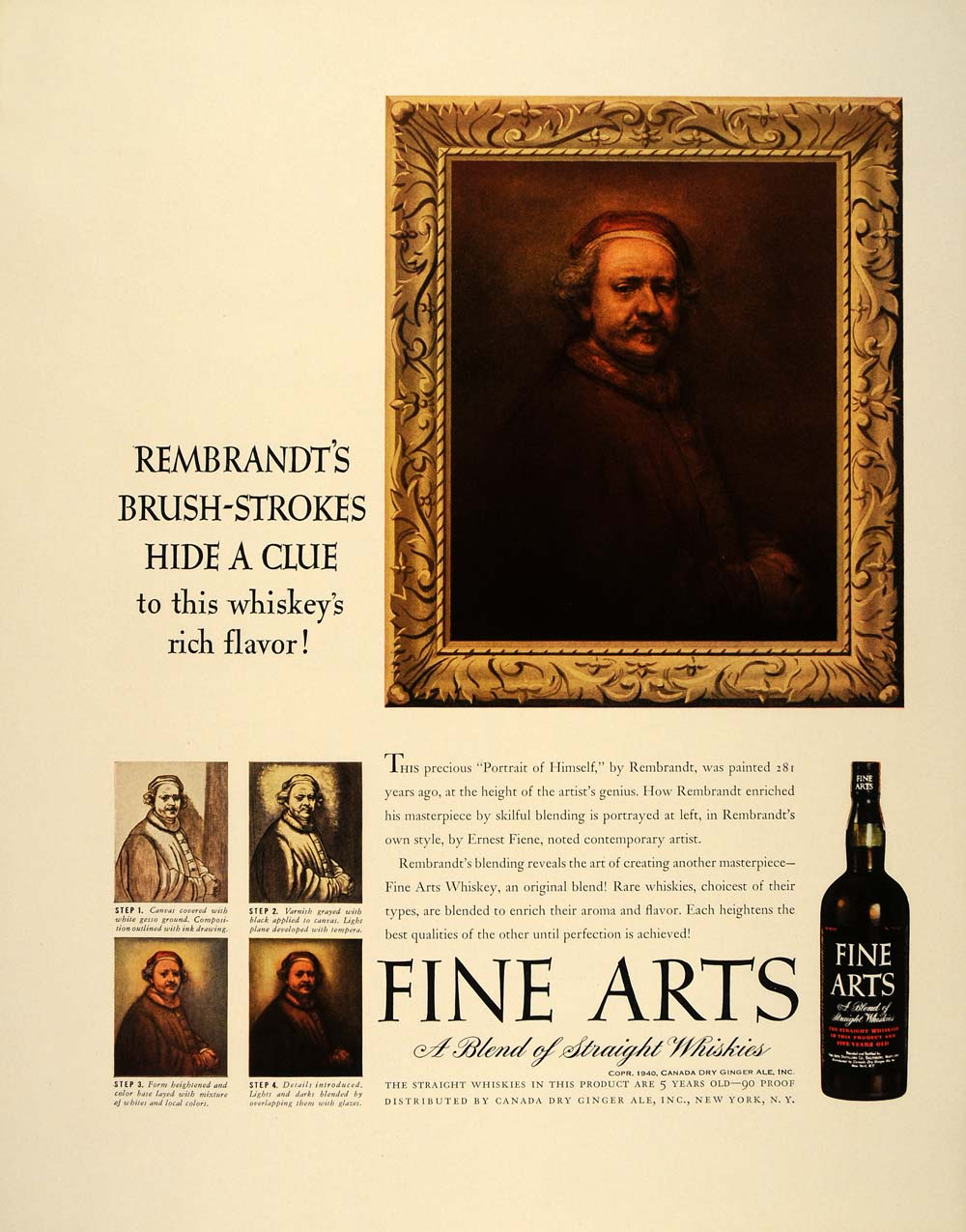1940 ad fine arts whiskey rembrandt self portrait original advertising ft6 [ 1000 x 1275 Pixel ]