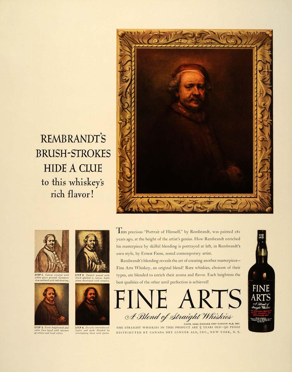 medium resolution of 1940 ad fine arts whiskey rembrandt self portrait original advertising ft6