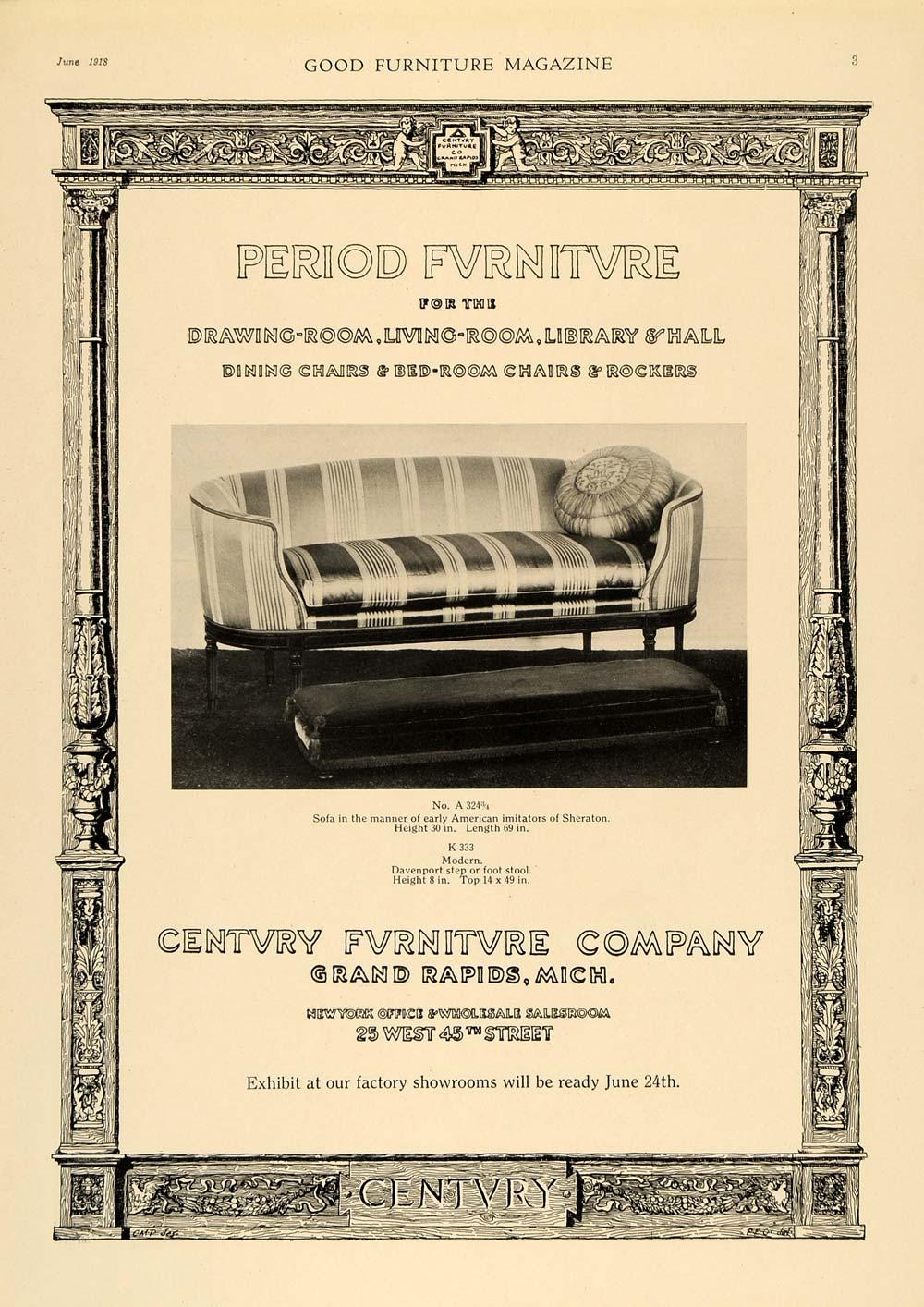 1918 Ad Sheraton Sofa Davenport Century Furniture Couch Original Gf1