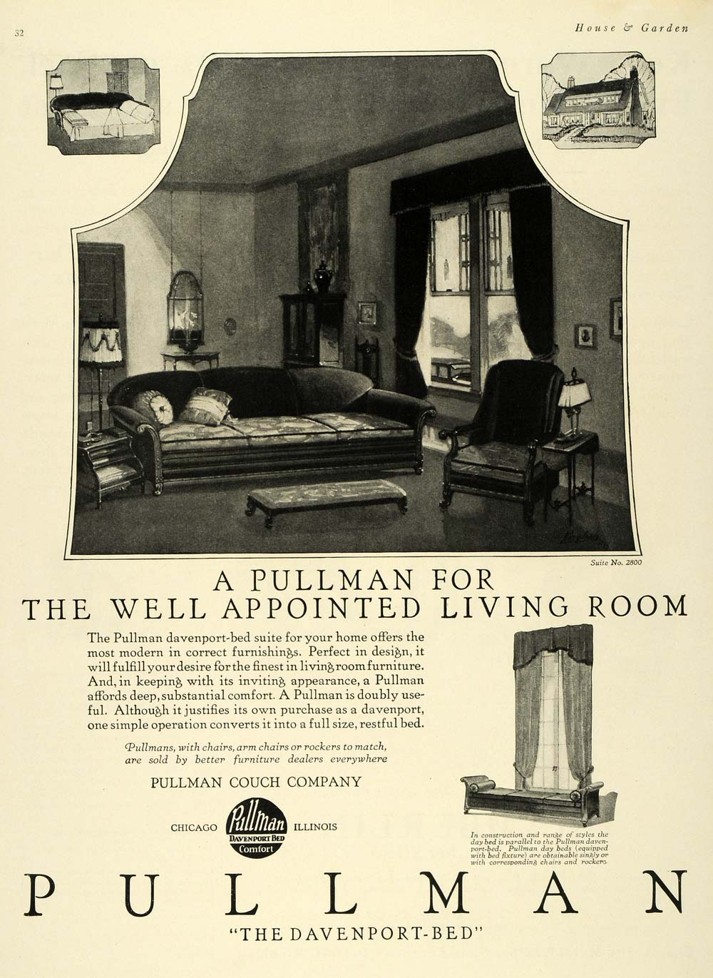 1924 Ad Pullman Couches Davenport Day Beds Furniture Original Advertising Hg1