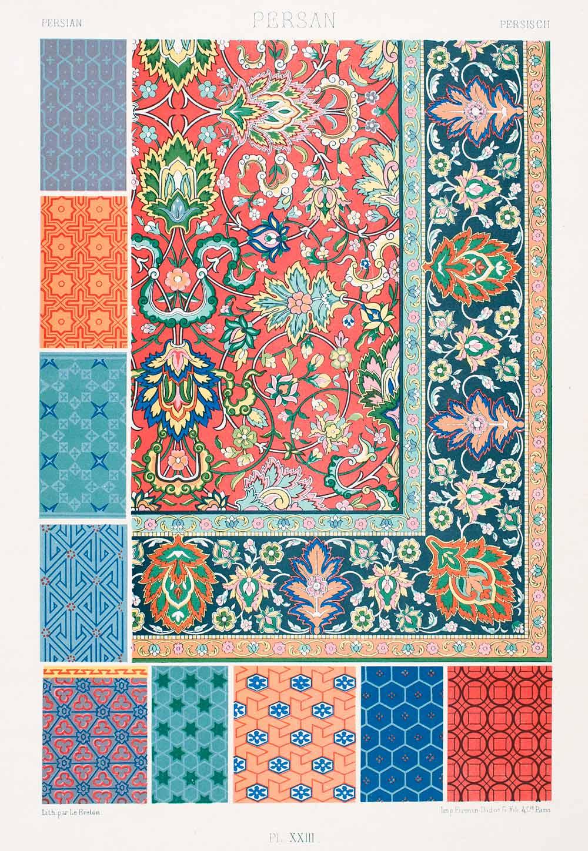 1875 Chromolithograph Persian Rug Design Floral Pattern Motif Tessellation Lor1