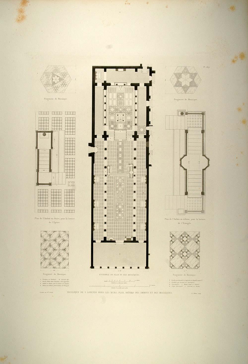small resolution of 1860 engraving basilica san lorenzo fuori le mura plan original rm1 period paper