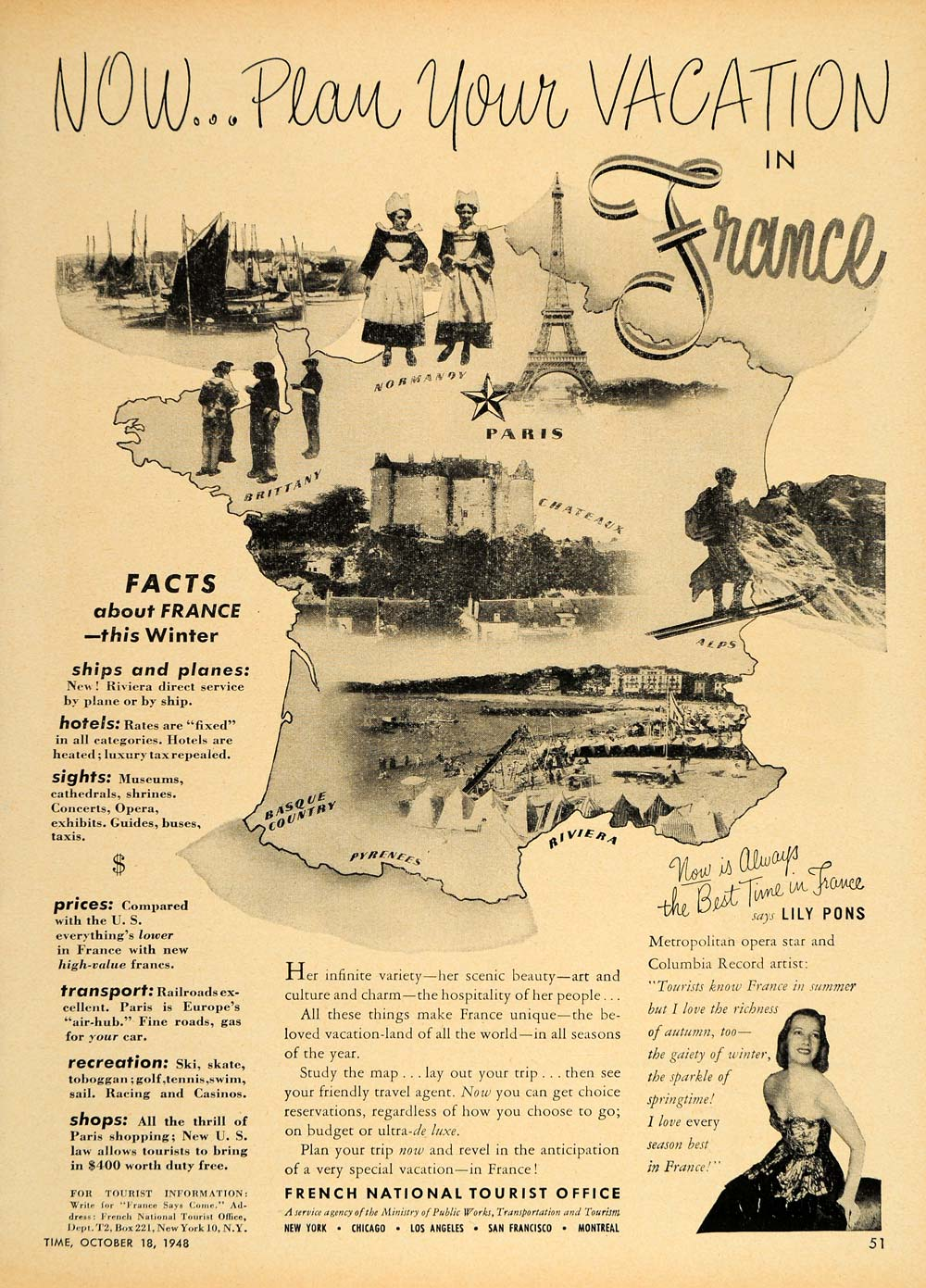 1948 Ad French Tourist Office Travel France Lily Pons Original Adver Period Paper