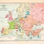 1928 Print Map Europe Hungary Ottoman Empire Sweden Muscovy Kazan Scot Period Paper