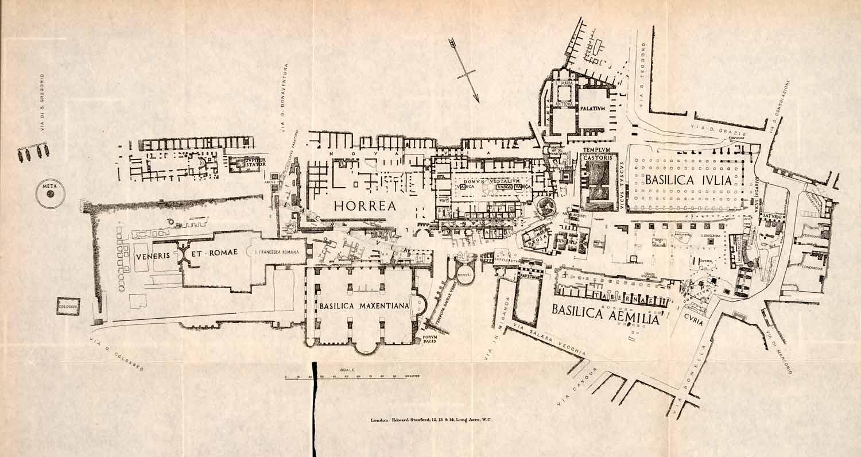 1908 lithograph roman forum italy diagram map maxentius basilica templ period paper [ 1500 x 796 Pixel ]