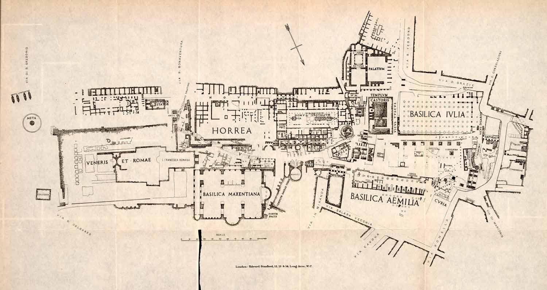 hight resolution of 1908 lithograph roman forum italy diagram map maxentius basilica templ period paper