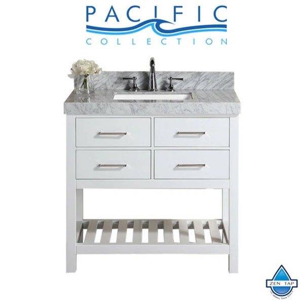 40 Laguna White Single Modern Bathroom Vanity With White Marble Top A Zen Tap Sinks