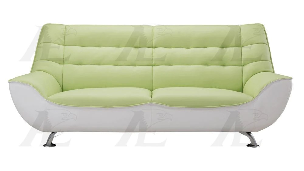 ae612 green and white faux leather sofa set