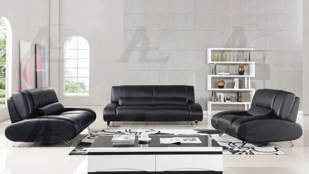 leather sofa set for living room wall colors with brown furniture ae728 black faux doria mattress outlet