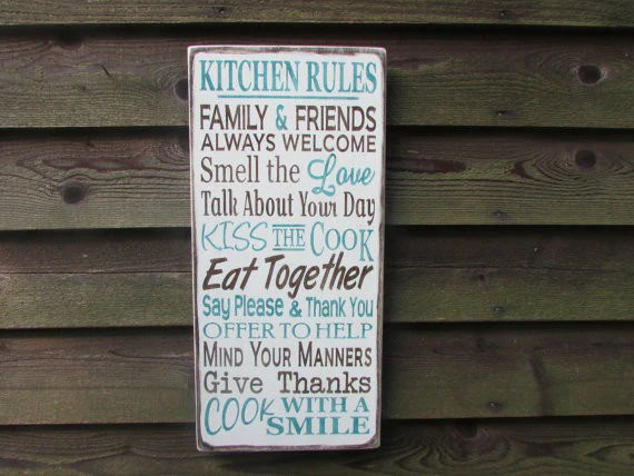 kitchen signs for home dog proof trash can family rules primitive decor