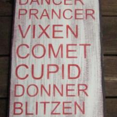 Kitchen Art Decor Table For 6 Christmas Sign, Primitive Reindeer Name ...