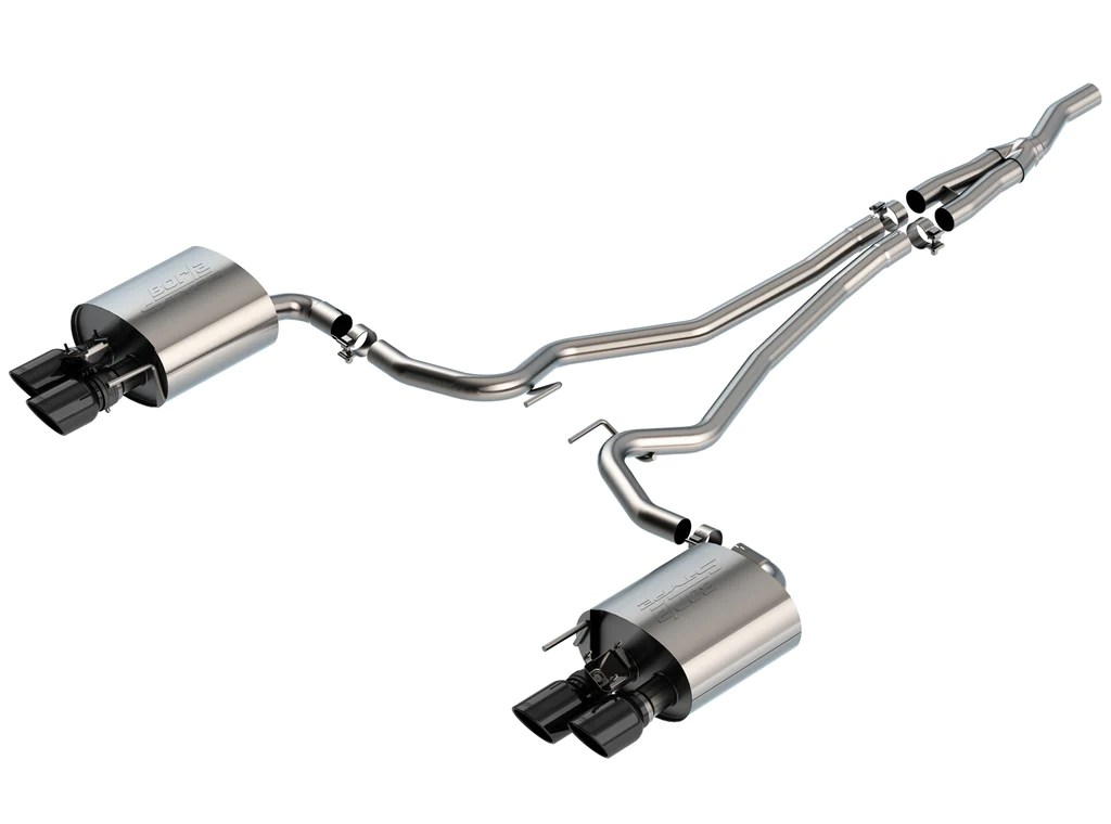 borla s type catback exhaust for 2019 ford ecoboost mustang w active exhaust black chrome tips