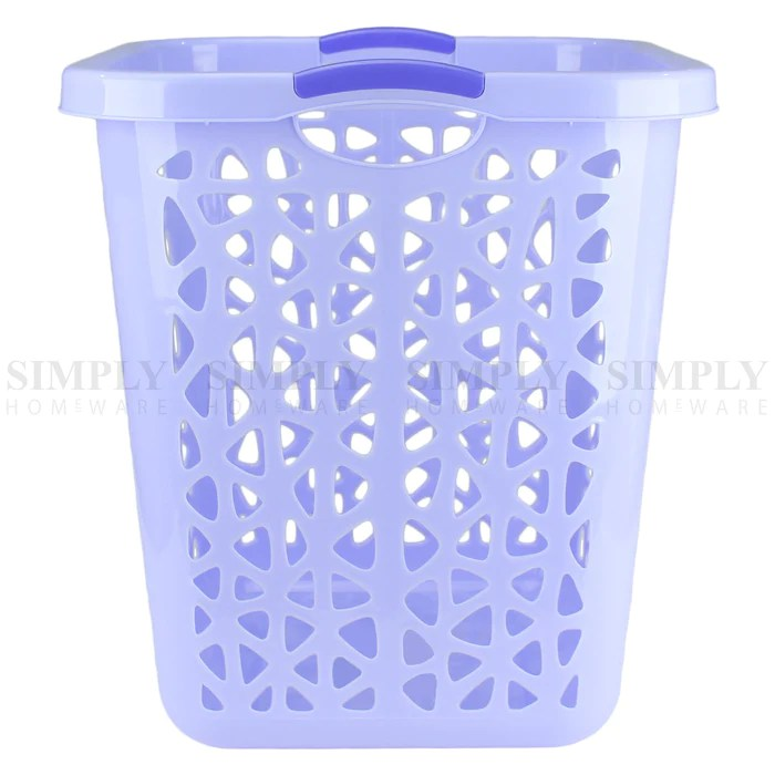 Laundry Basket Bin Plastic Baskets Washing Hamper Bag White Blue Pink Simply Homeware