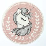 Nova Kids Sleeping Unicorn Round Rug Pink