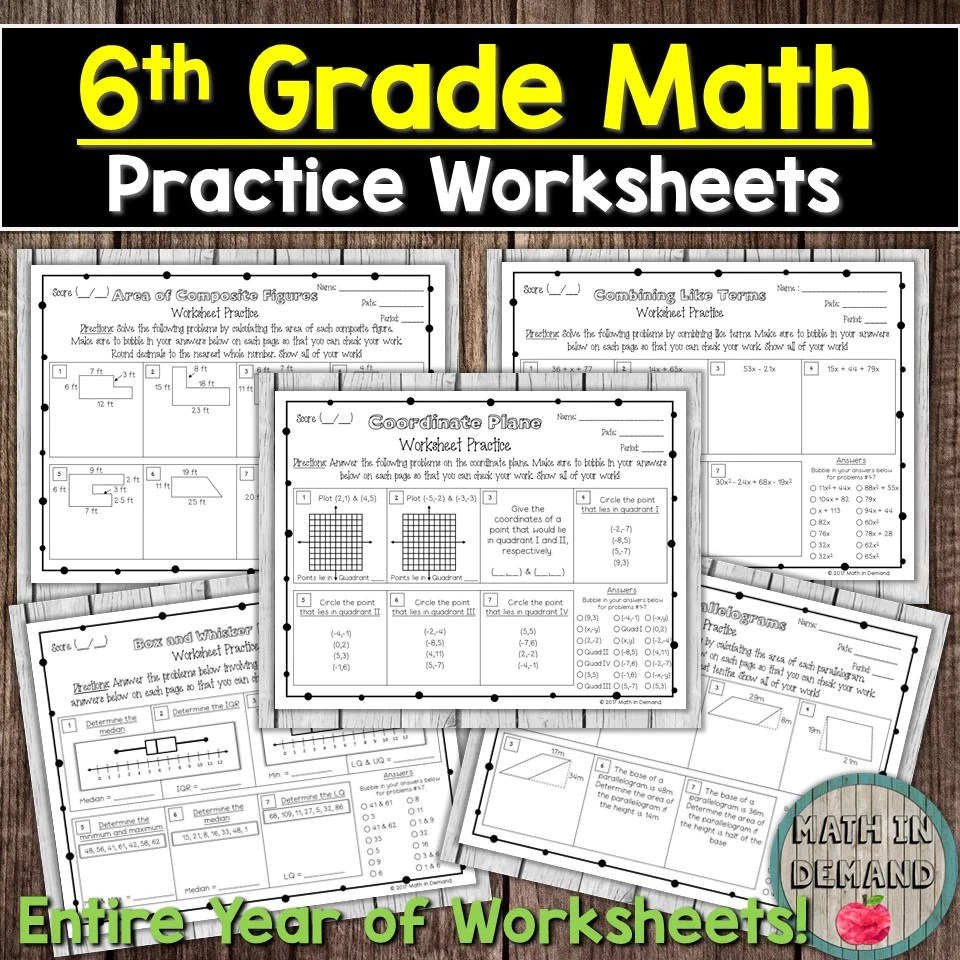 6th Grade Math Worksheets - Math in Demand [ 960 x 960 Pixel ]