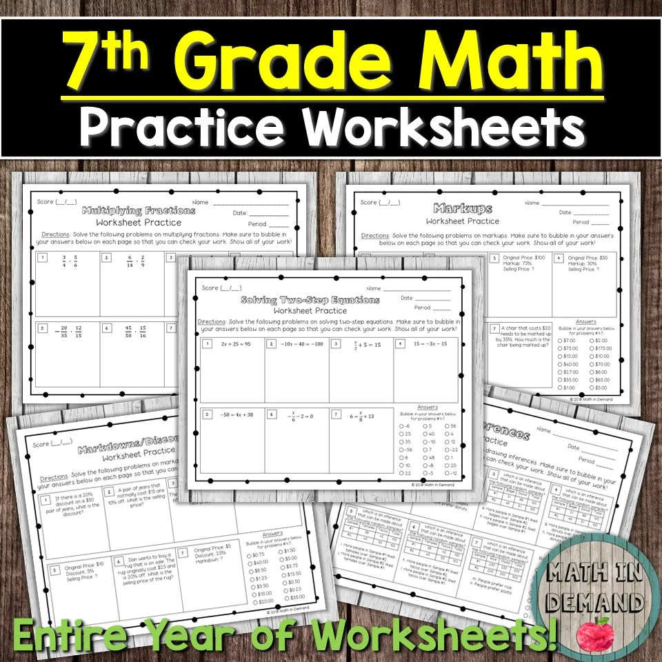hight resolution of Math Practice Worksheets Bundle - Math in Demand
