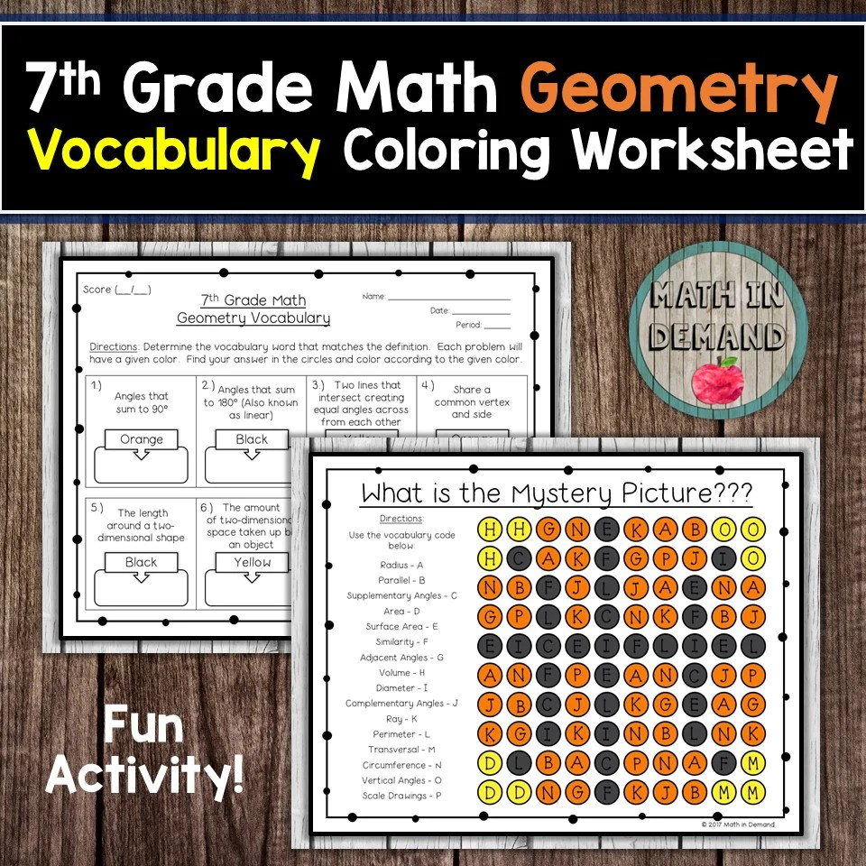 7th Grade Math Geometry Vocabulary Coloring Worksheet - Math in Demand [ 960 x 960 Pixel ]