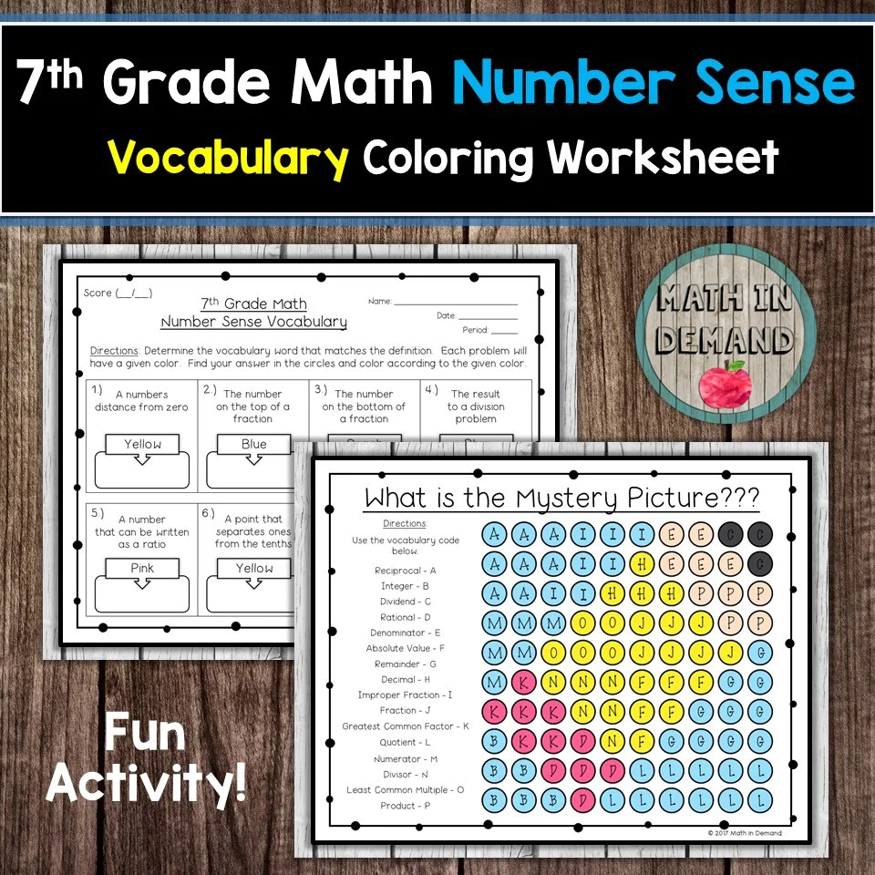 7th Grade Math Number Sense Vocabulary Coloring Worksheet - Math in Demand [ 960 x 960 Pixel ]
