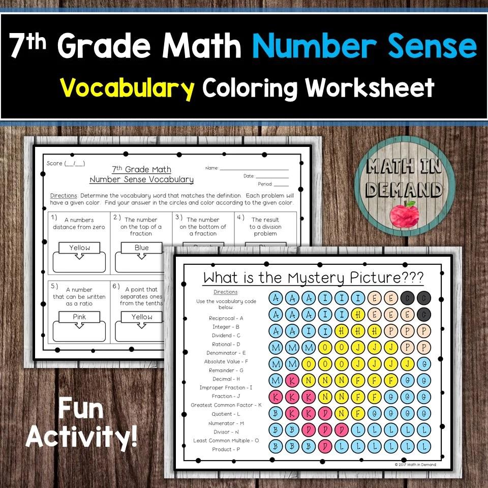 7th Grade Math Number Sense Vocabulary Coloring Worksheet - Math in Demand [ 960 x 960 Pixel ]